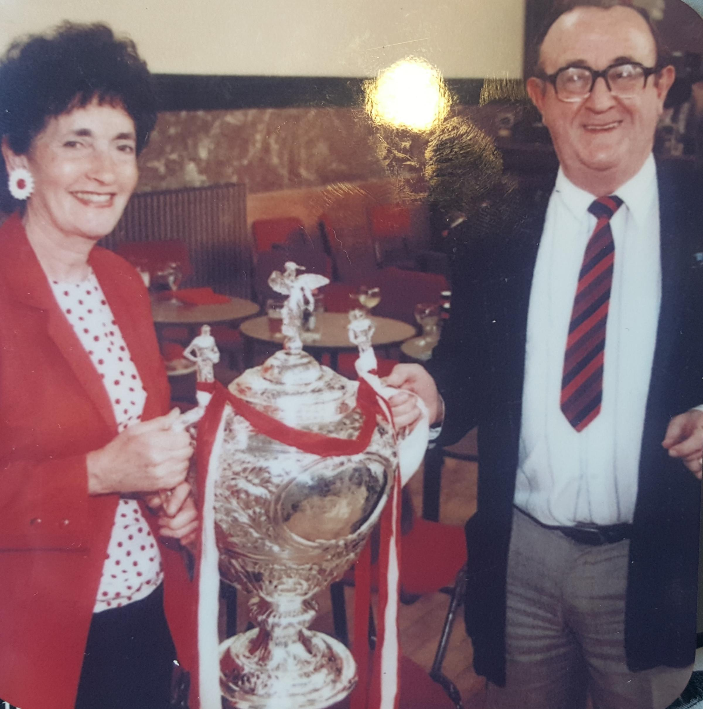 Former Star sports writer Denis Whittle is pictured here with his wife Margaret with the Challenge Cup in the Saints boardroom, the day after the 1996 Wembley triumph. Denis says the final, which saw Saints come back from 26-12 down to beat Bradford 40-32