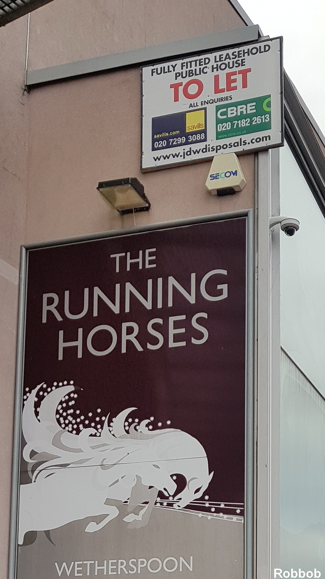 The sign outside the Running Horses Pic: Robbob