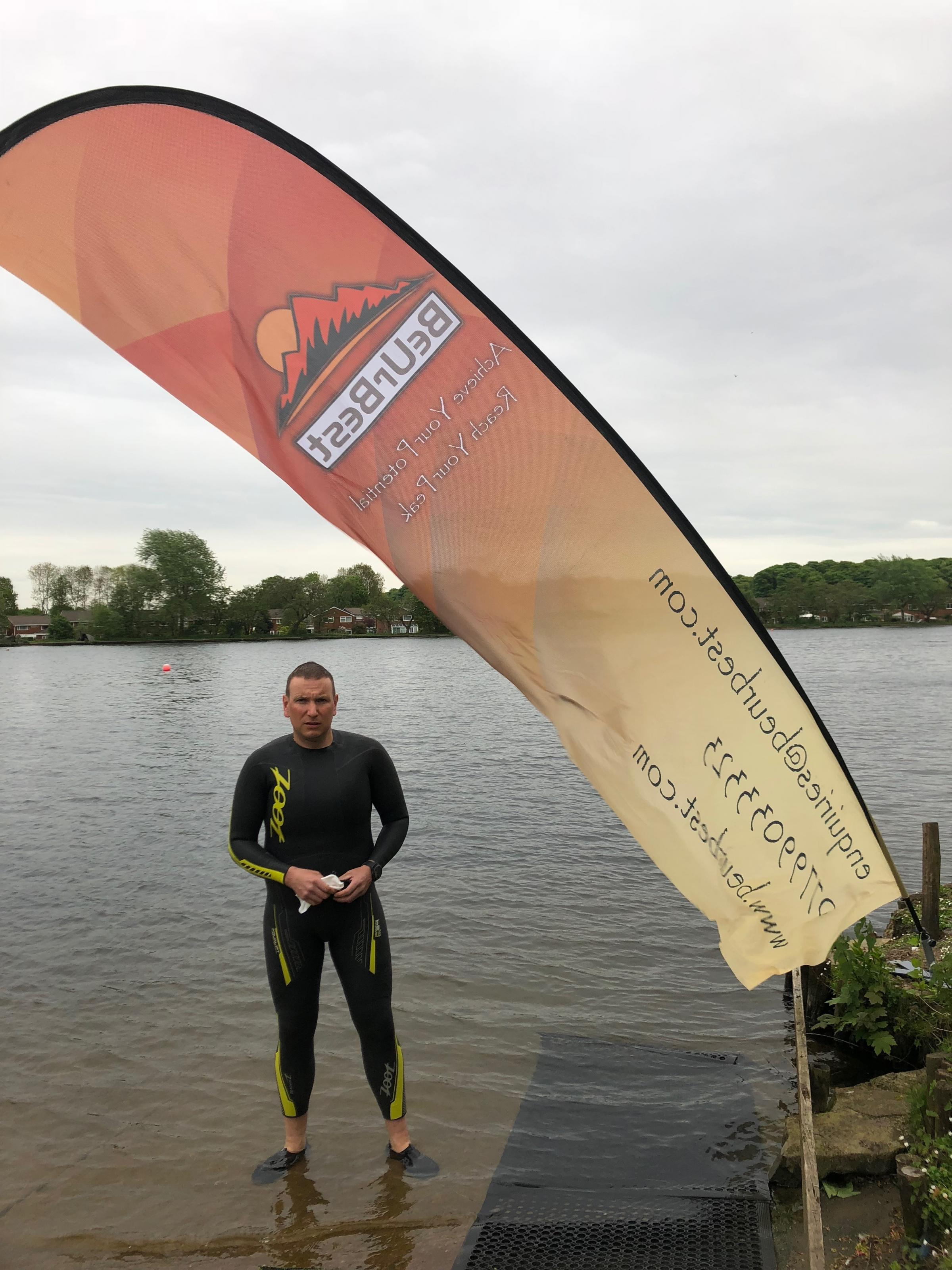 Ex-soldier Mark during an open water swimming training session