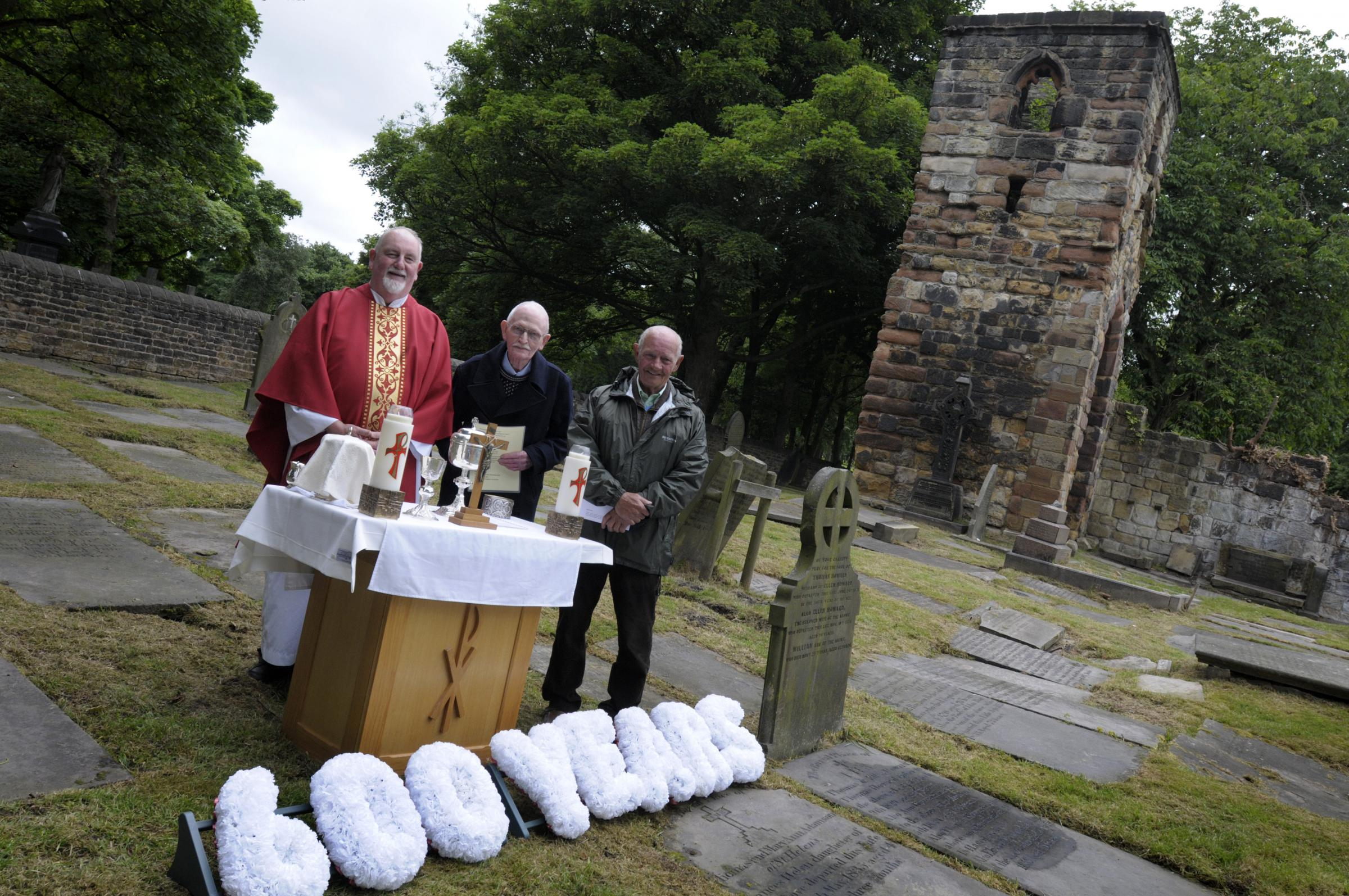 Kevin Heneghan (middle) with Father Tom Gagie and historian Ted Forsyth at the Windleshaw Chantry