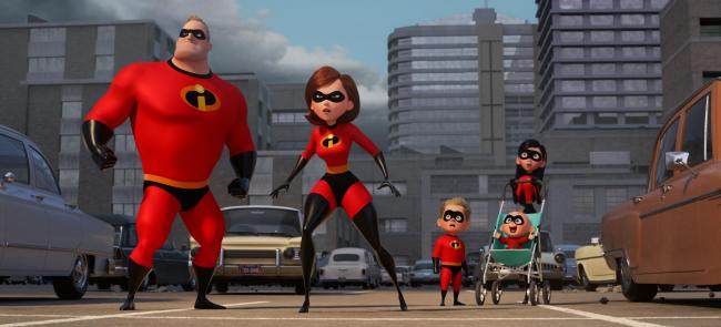 Mr Incredible (voiced by Craig T Nelson), Elastigirl (Holly Hunter), Dash (Huck Milner), Jack-Jack (Eli Fucile) and Violet (Sarah Vowell)