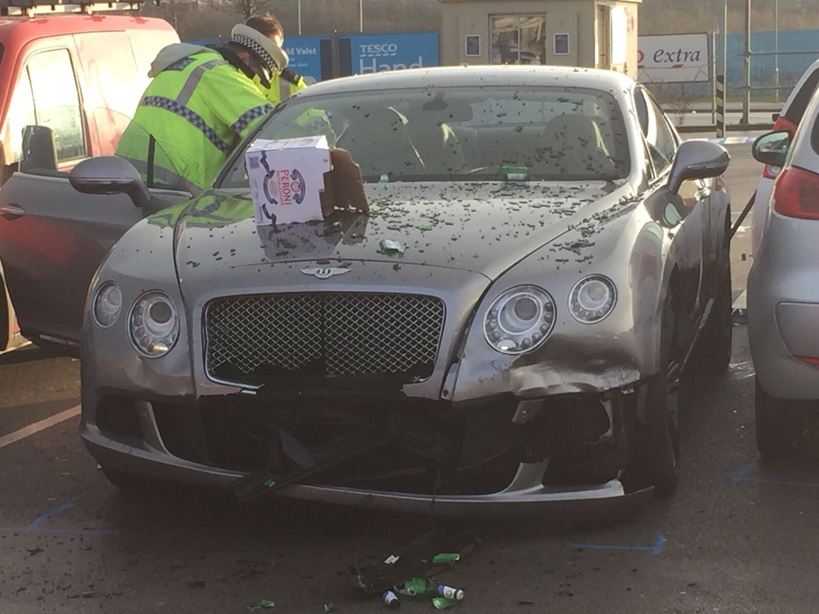 The Bentley after the incident
