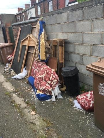 The vast majority of fly-tipping in St Helens takes place in rear alleys