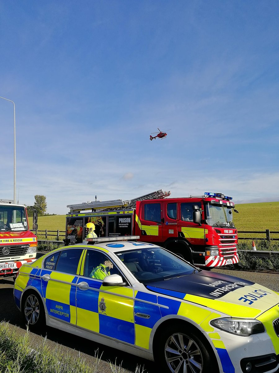 Emergency services at the scene this morning Pic: NW Motorway Police