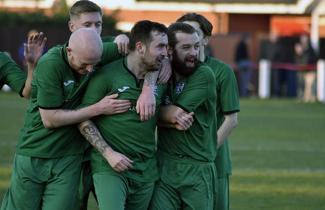 Pilks celebrate their goal in the 1-1 draw with Middlewich Town