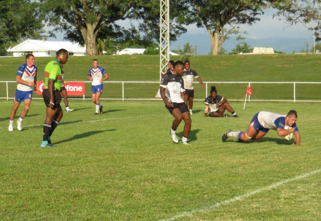 One of two Jordan Gibson tries for BARLA Lions against the Fiji Bati Residents