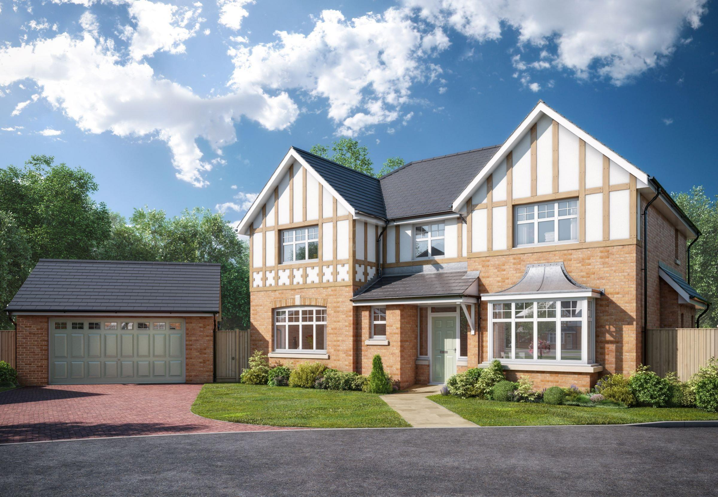 •	An artist's impression of The Knightsbridge 2 house type, one of a range of just twelve detached homes being built by Jones Homes at Springfield Gate in Eccleston
