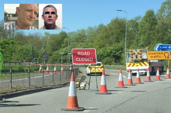 The scene of John Kinsella's murder at junction seven of the M62 and, inset, Paul Massey and John Kinsella