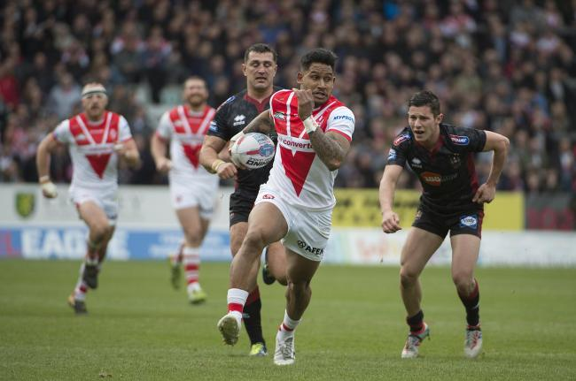 Ben Barba scoring against Wigan in 2018. Picture: Bernard Platt
