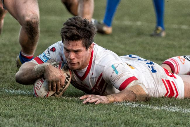 Scarsbrook scoring a winning try at wakefield last year. Pic: Bernard PLatt