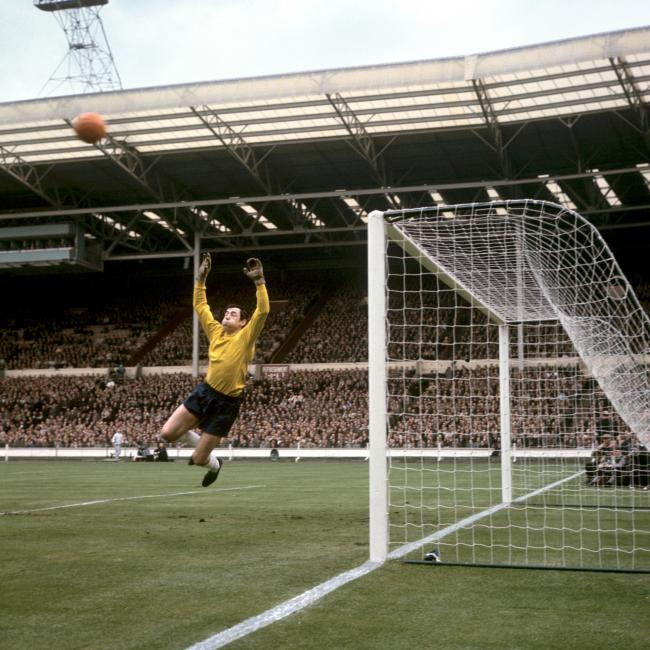 Gordon Banks makes a save against Hungary. Picture: PA Wire