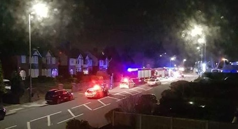 Emergency crews at the scene on Prescot Road last night