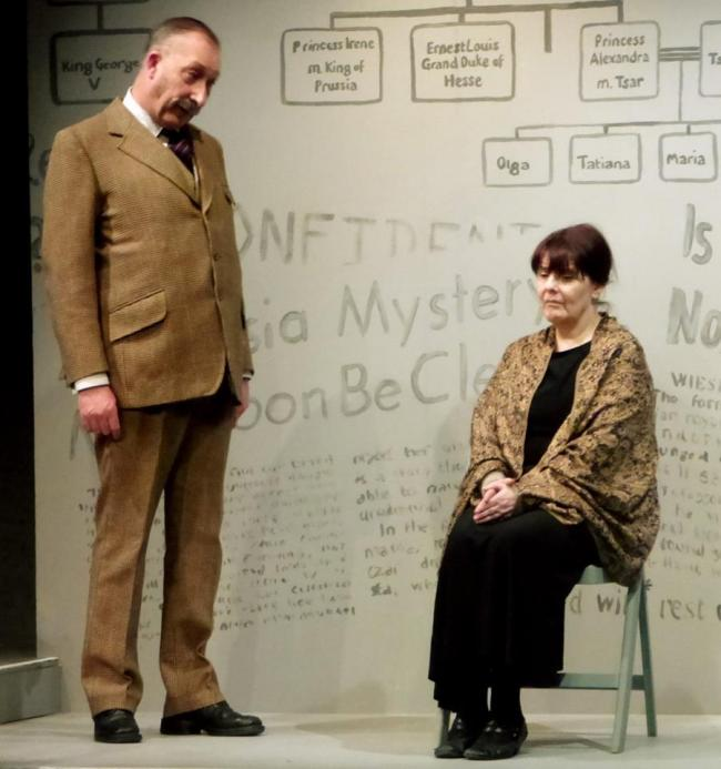 "Malcolm Cooper as the Inspector and Kathryn Fennell as Mrs Manahan aka ""Anastasia"""