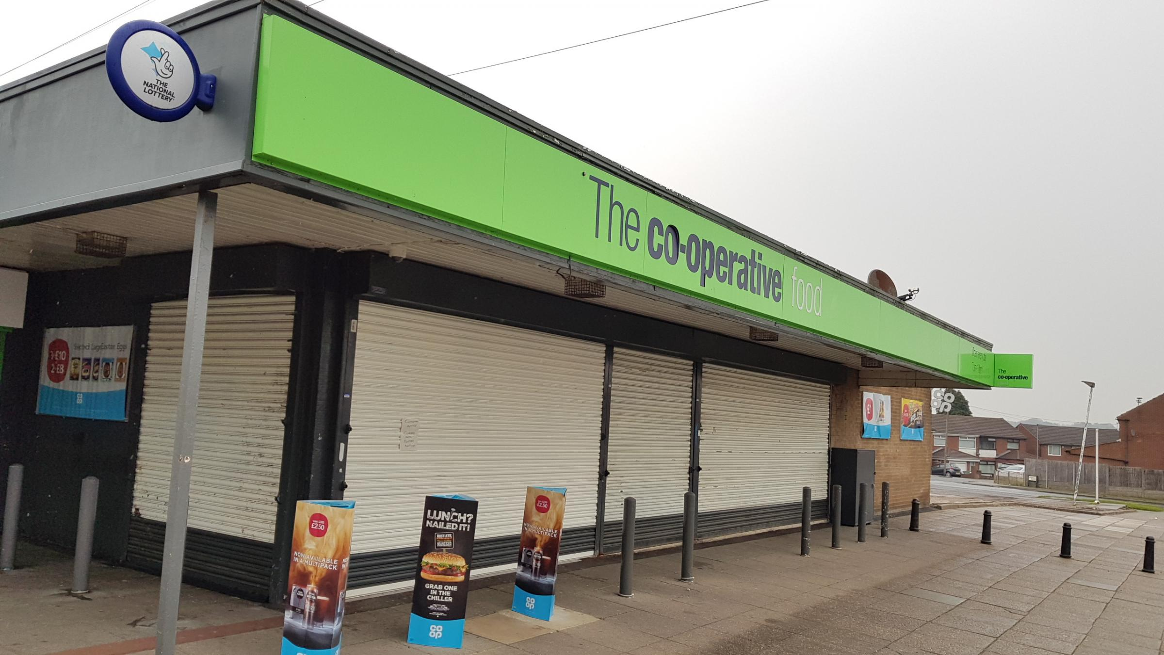 The shutters remained down on the Co-op store at Chain Lane after burglars struck on Monday night (pic: Robbob)