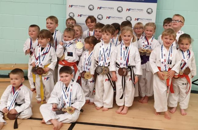 Some of the three to six year olds who competed in the Matt Fiddes Martial Arts Northern Championships in Penrith
