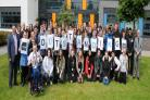 Staff and students celebrating the top rating by Ofsted inspectors